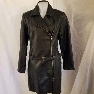 Black Leather Dress Size 10 Zipper Belt Newport